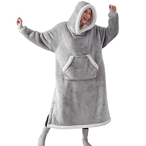 Bedsure Oversized Blanket Hoodie - Long-Length Wearable Hooded Blanket Sweatshirt with Side Split, Belt and Big Hood, Giant Warm Sherpa Sweater Blanket Jacket, Grey