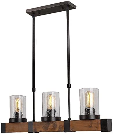 Anmytek Metal Wood and Glass Chandelier Pendant Light Retro Rustic Loft Antique Lamp Edison Vintage Decorative Light Fixtures and Ceiling Light Luminaire Three Lights