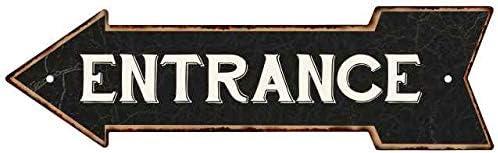 Chico Creek Signs Entrance Left Arrow Vintage Looking Metal Sign 5x17 205170004017