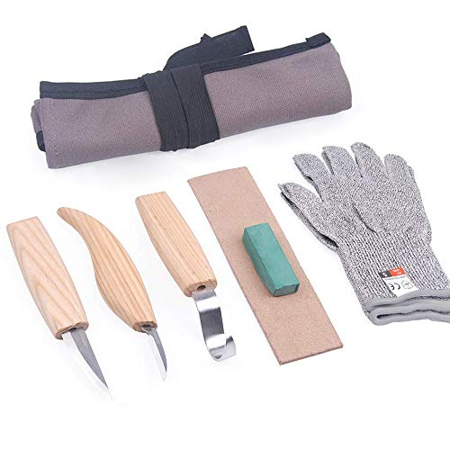6pcs Wood Carving Tools Set with 3 Hook Sloyd Detail Knives + Polishing Wax + Sharpening Leather + Cut-Proof Gloves + Canvas Bag for Beginners and Professional Woodcarvers
