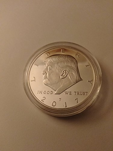 (2017 President Donald Trump Inaugural Silver EAGLE Commemorative Novelty Coin 38mm. 45th President of the United States of America CERTIFICATE OF AUTHENTICITY)