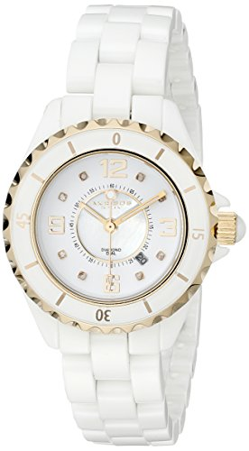 Akribos XXIV Women's AK485 Diamond-Accented White Ceramic Bracelet Watch ()