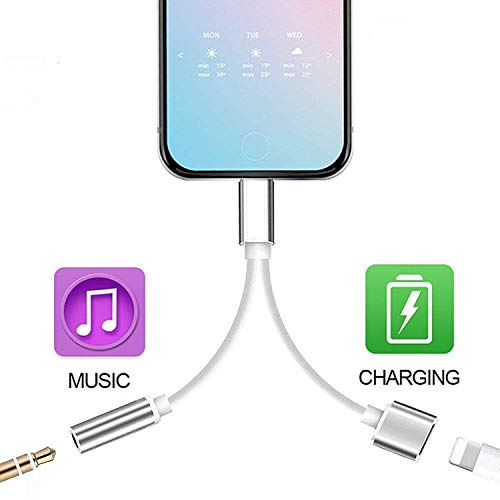 2 in 1 Headphone Jack Adapter for iPhone X/7Plus/8/8Plus/7/XR/XS/XSMax Headset Adaptor Accseeorise,Dual Splitter Cables,Earphone Dongle AUX Audio Convertor Charge Connector,Fast Car Charger Adapter