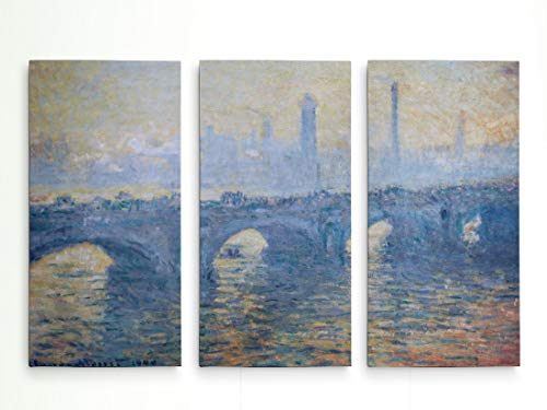 - WEXFORD HOME Waterloo-Bridge -Claude Monet 3 Panel Gallery Wrapped Canvas Wall Art, 40x60,