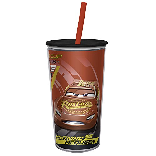 (Zak Designs Disney Cars 3 - Embossed DW Tumbler with Durable Straw - Fully Wrapped Inner Artwork Makes Your Favorite Characters Pop Out, Press-In Lid Keeps Liquids In (10.5oz, BPA-Free))