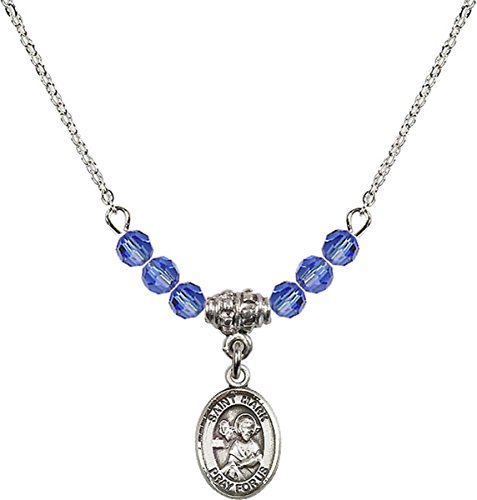 September Birth Month Bead Necklace with Saint Mark the Evangelist Petite Charm, 18 Inch