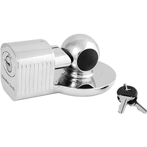 Master Lock 377KA Trailer Hitch Lock, Fits 1-7/8 in., 2 in., and Most 2-5/16 in. Trailer Couplers, Chrome