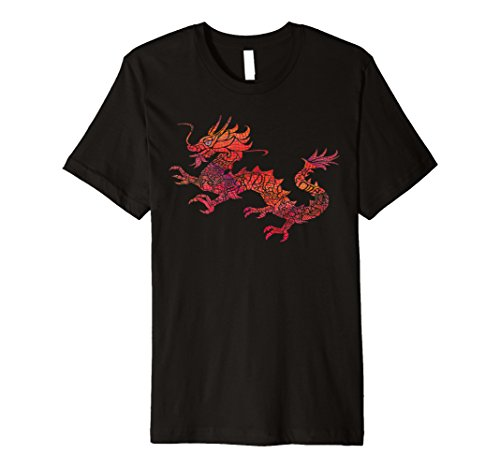 (Tribal Chinese Dragon Fantasy Shirt | Red Swirl)