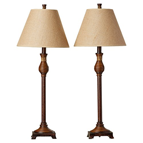 30.25'' Golden Ruby Table Lamp with Empire Shade in Natural Reed Base (2-Pack) by Alcott Hill