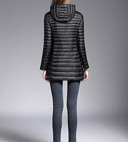 manches Manteaux capuche Femmes Veste longues longue à Zhuikuna mi noire en Veste Grandes Tailles duvet avec 8f6dn5q