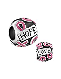 Breast Cancer Awareness Pink Ribbon Charms Jewelry Sale Cheap Beads Fit Pandora Bracelets