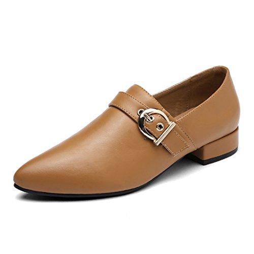 HWF Chaussures femme Chaussures en cuir pointu de printemps simples chaussures de femmes Chaussures plates de plat rétro une pédale femelle ( Couleur : Noir , taille : 38 ) Marron