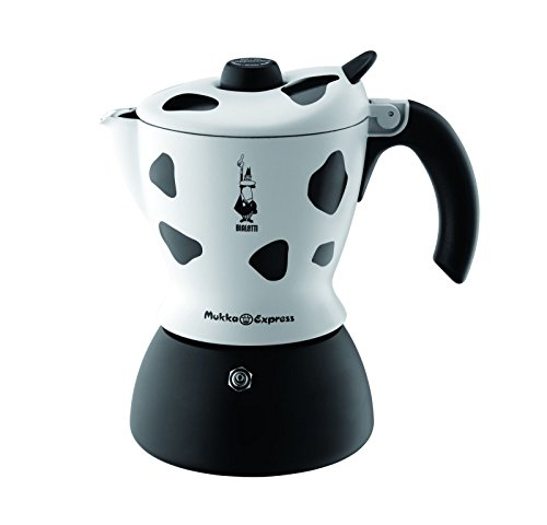 Bialetti Mukka Express – Stove Top Cappuccino/Latte Coffee Maker – With Built-In Milk Frother – 2 Cup – Cow Print