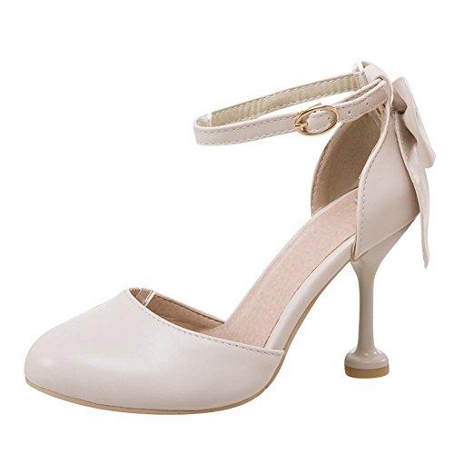 Mee Shoes Damen Stiletto mit Schleifen Runde Pumps Beige