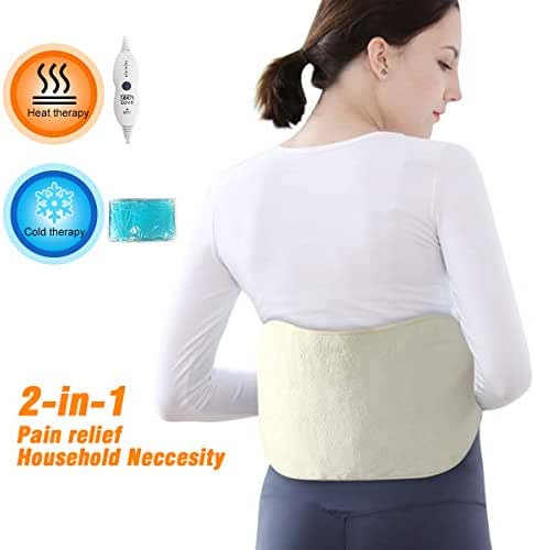 Tech Love Waist Heating pad for Lower Back Pain, Gel Ice Pack for Hot or Cold Therapy for Shoulder, Leg, Stomach Cramp Relief with Elastic Bands, Reusable, Portable Heat Wrap, Off-White