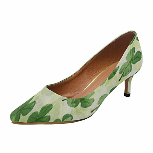 InterestPrint Womens Low Kitten Heel Pointed Toe Dress Pump Shoes Pattern With Watercolor Clover Leaves Multi 1 ld3ZLw1