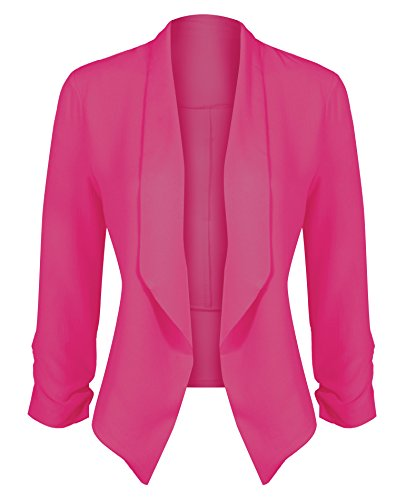 HOT FROM HOLLYWOOD Women's Classic Stretchy Cardigan Blazer with Curved Hemline and Shirring 3/4 Sleeves by HOT FROM HOLLYWOOD
