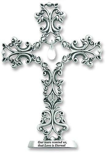 Cathedral Art QP321 Standing Cross with Dangling Tear-Shaped Crystal Figurine, 5-Inch High
