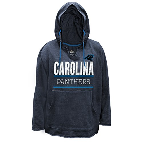 Profile Big & Tall NFL Carolina Panthers V Notched Pullover Hood with Ragged Edge, 1X, Charcoal/Heather - Edge Pullover
