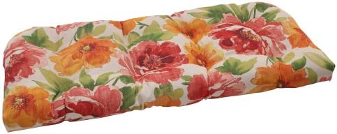 Pillow Perfect Outdoor Primro Wicker Loveseat Cushion, Orange