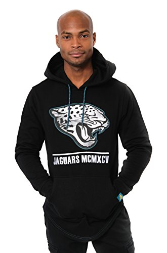 (ICER Brands Adult Men Fleece Hoodie Pullover Sweatshirt Embroidered, Team Color, Black, Large)