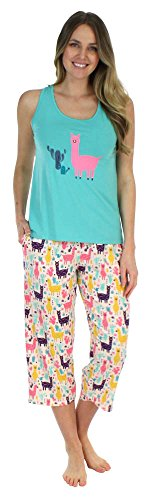 Sleepyheads Women's Lightweight Sleepwear Tank & Capri Pajama PJ Set (SH1832-4081-LRG)