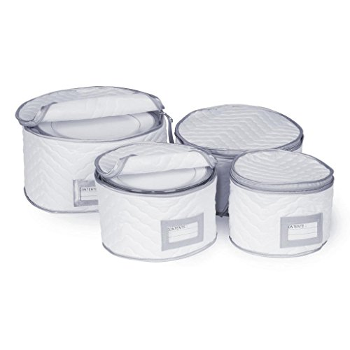 Microfiber Salad (Richards Homewares Set of 4 Micro Fiber Quilted Deluxe Plate Case Dinnerware Storage Organizer for Saucers, Dinner Plates, Dessert Plates & Salad Plates - Include Content Label Inserts, White & Silver)