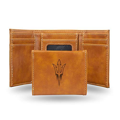 Rico Industries NCAA Arizona State Sun Devils Laser Engraved Tri-Fold Wallet, Brown