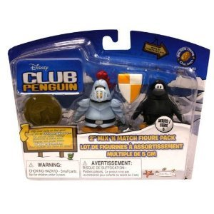 Disney Club Penguin 2 Inch Mix N Match Figure Pack with Knight Chevalier & Ninja Guerrier-Espion