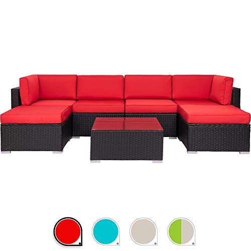 Walsunny 7pcs Patio Outdoor Furniture Sets,Low Back All-Weather Rattan Sectional Sofa with Tea Table&Washable Couch Cushions&Ottoman (Black Rattan(Red) (Patio On Sale Furniture Sectional)