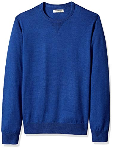 Goodthreads Men's Merino Wool Crewneck Sweater, Bright Blue, Small