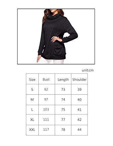 d6b37d11230 Defal Womens Long Sleeve Button Cowl Neck Tunic Top Casual Slim Sweatshirt  with Pockets for Leggings