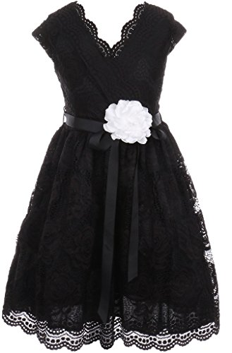 Suede Cap Black Belt (Big Girl Cap Sleeve V Neck Flower Border Stretch Lace Corsage Belt Flower Girl Dress (20JK66S) Black)