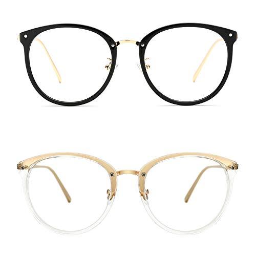 - TIJN Vintage Optical Eyewear Non-prescription Eyeglasses Frame with Clear Lenses (J, 52-18-140)