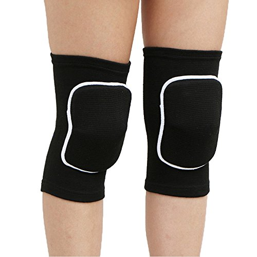 Adult Child Premium Blue Outdoor Exercise Dance Gardening Soccer Roller Skating Gym Workout Biking Mountaineering Bodybuilding Hike Camp Jogging Tennis Protective Knee Sleeve Pad Support (Black, S)