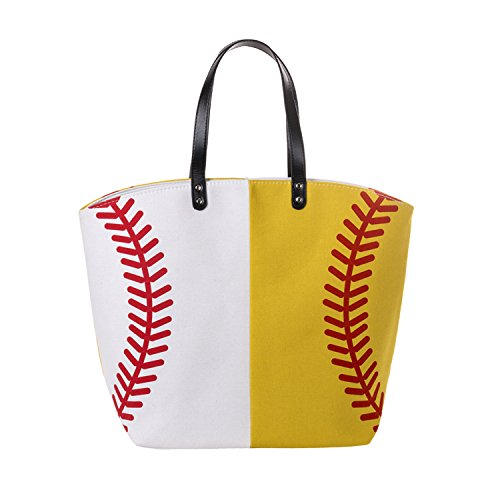 X.Sem Baseball Tote Large Size Canvas Cotton Beach Totes Sports Shoulder Bag 23'' (Baseball&Softball)
