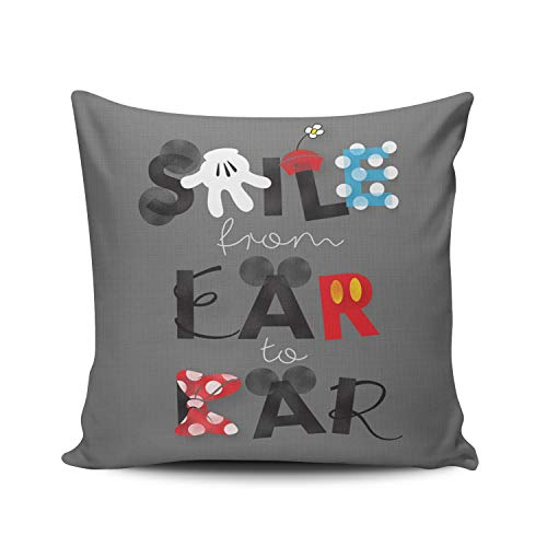 (MUKPU Fashion Home Decoration Design Throw Pillow Case Charcoal Gray Mickey Mouse Smile from Ear to Ear 22X22 Inch Square Custom Pillowcase Cushion Cover Double Sided Printed (Set of 1) )