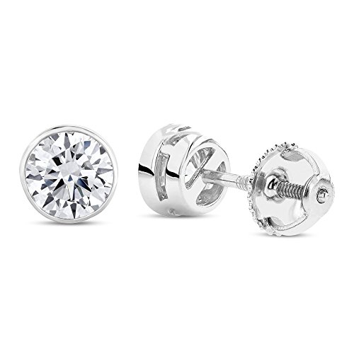 Bezel Set Brilliant Cut Diamond (1/2 0.5 Carat Total Weight White Round Diamond Solitaire Stud Earrings Pair set in 14K White Gold Bezel Screw Back (I-J Color I1 Clarity))