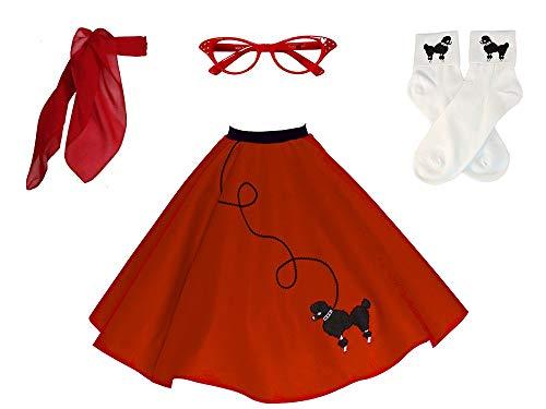 Red Poodle Skirt Costume (Hip Hop 50s Shop Adult 4 Piece Poodle Skirt Costume Set Red)