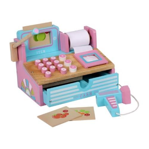 chollos oferta descuentos barato Siva Toys 269265 Caja registradora de Madera Color Rosa y Azul Claro