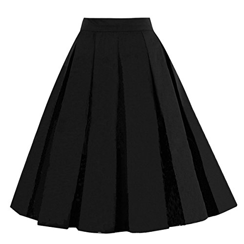 Solid Circle Skirt - Girstunm Women's Pleated Vintage Skirt Floral Print A-line Midi Skirts with Pockets Solid-Black L