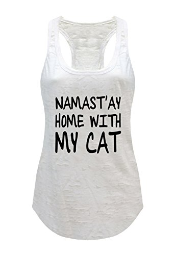 Tough Cookie's Women's Yoga Burnout Namastay At Home With My Cat Tank Top (X-Large - LF, - Lf My