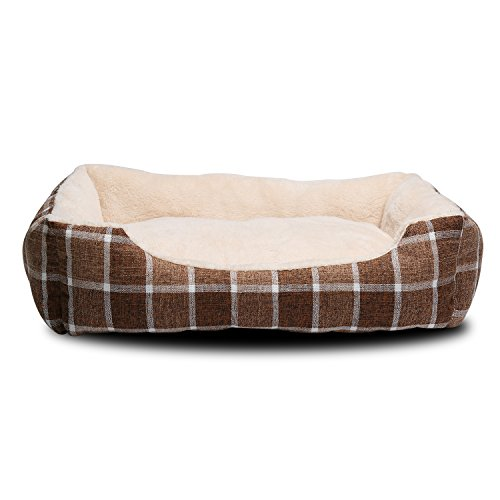 JEMA Rectangle Pet Dog Bed - Comfortable Two-Side Cashmere Pad, Lattice Patterned, Linen Fabric Cover, Square Shape Bed for Cats and Dog
