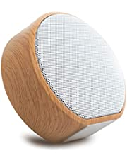 Altavoz de Bluetooth, mini reproductor de audio elegante portátil al aire libre de Shell del grano de madera del subwoofer (Color : Blanco)