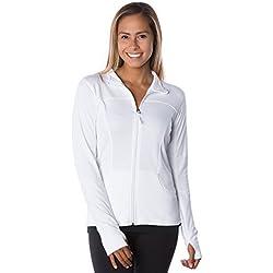 Global Women's Slim Fit Lightweight Full Zip Yoga Workout Jacket S White