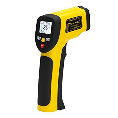 AVANTEK Non-contact Dual Laser IR Infrared Thermometer for Cooking and Automotive, Measuring range -58°F to 1562°F / -50°C to 850°C - Black & Yellow