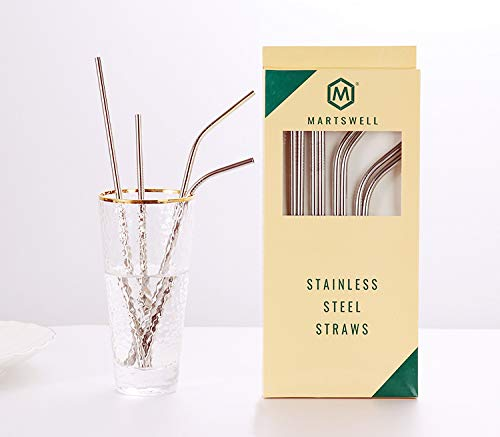 Stainless Steel Straws Set of 8 BPA Free and FDA Approved Reusable Metal Straws for 30oz 20oz Tumbler 10.5'' 8.5'' Diameter 0.24'' with 2 Cleaning Brushes (4 Bent 4 Straight) Martswell