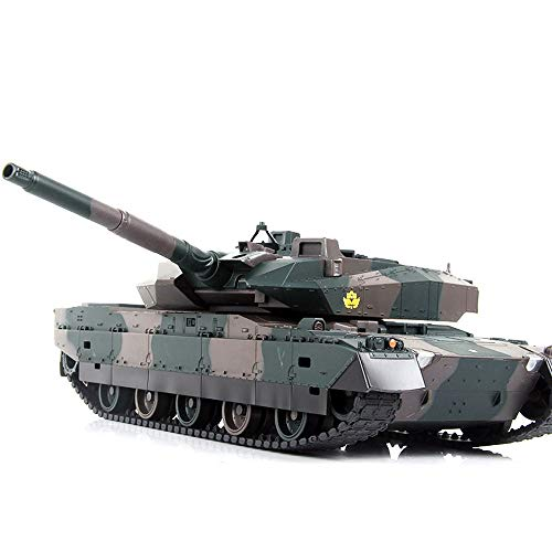 Luccky HengLon RC Tank with USB Charger Cable Remote Control Panzer Tank 1:24 German Tiger Radio Remote Controlled Rc Tank 2.4G MBT Tank NATO Green Battle Tank with Antenna Pro Metal Tracks Xmas Gift