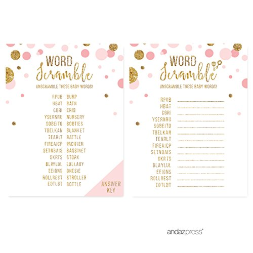 Andaz Press Blush Pink Gold Glitter Girl Baby Shower Party Collection, Games, Activities, Decorations, Word Scramble Game Cards, 20-pack