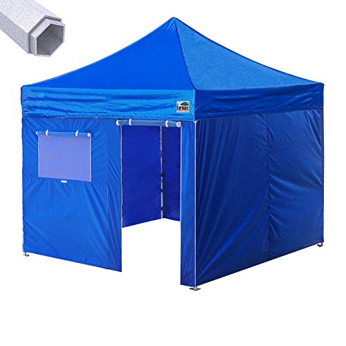 - Eurmax Premium 10'x10' Ez Pop-up Canopy Tent Commercial Instant Canopies Shelter with Removable Sidewalls Bonus Wheeled Carry Bag (Royal Blue)